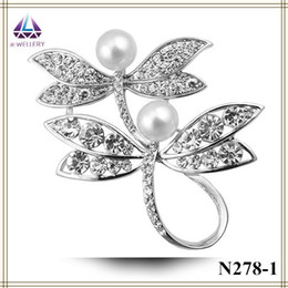Wholesale Clear Rhinestone Crystal Dragonfly Brooch - Free Shipping Safety Pin For Brooch Real Plantinum Plating Dragonfly Shape Brooch With Mini Clear Crystal