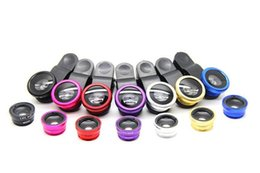 Wholesale Red Angle Eyes - Universal Cell Phone Lens 3 in 1 Fish Eye Lens 180 Degree Wide Angle Lens Macro For iPhone 6S Plus 5s Samsung Galaxy