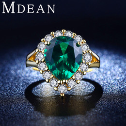 Wholesale Gem Clusters - 18K Gold Plated rings cz diamond jewelry Green gem inlaid big CZ diamond Engagement Classic Round rings for women MSR201
