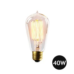 Wholesale Wholesale Squirrel Cage Bulb - Vintage Edison Light Bulb 40W 110V 220V Antique E27 40 Watt Squirrel Cage Filament ST64 Incandescent Bulbs LED Filament Bulb Christmas Light