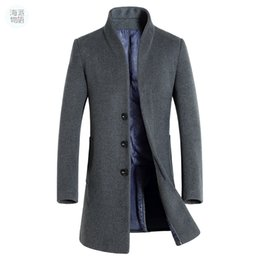 Mens wollgraben online-Shanghai Story Herren langen Trenchcoat Wollmantel Mode Schnalle Wollmantel Business Herren Winter 5 Farbe