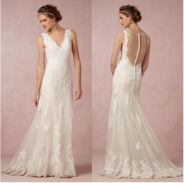 Wholesale Empire Waist Mermaid - New Vintage Sheer Back Full Lace Wedding Dresses 2016 Backless With Button Covered Wedding Dresses Empire Waist Mermaid Wedding Bridal Gowns