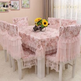 Wholesale White Polyester Tablecloths Round - TLFE Europe Wedding Crochet Lace Ruffles Embroidery Tablecloth Printed Home Textile Table Cloth Chair Cover toalha de mesa ZB129