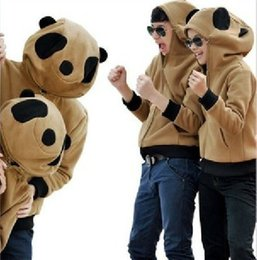 Wholesale Super Fleece Hoodie - 2016 Autumn and winter Super of stereoscopic giant panda hoodies Couples thickening fleece jacket outerwear Free Shipping