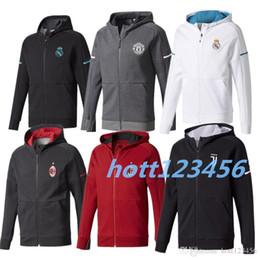 Wholesale United Soccer Shirt - 2017 2018 real madrid training jacket 17 18 ronaldo POGBA long sleeve soccer jersey Ibrahimovic Man United football SHIRT zipper jacket