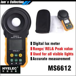 medidores de lux Rebajas Al por mayor-MASTECH HYELEC MS6612 luxómetro digital 20000 lux con rango, valor pico, fotómetro de luz visible relativa