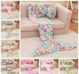 Wholesale Air Conditioned Pillow - Mermaid Tail Blanket Adult With Bow Pillow Flannel Air Conditioning Blanket Throw Sofa Bed Wrap Soft Warm Sleeping Bag Children