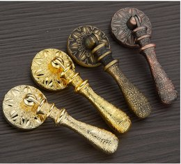 Wholesale Copper Kitchen Handles Knobs - 2016 European Style antique copper vintage door handle single knobs cabinet drawer pulls in kitchen furniture hardware accessory #179