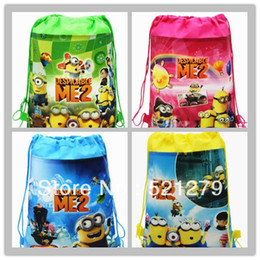 Wholesale Minions Children Backpack - Free shipping 20pcs lot Cartoon Movies Despicable Me 2 Minions Drawstring Backpack Tote School Bag String Bags Children bag