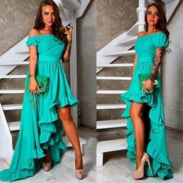 Wholesale High Low Prom Dress Custom - Green High Low Party Dresses Cheap Ruffles Short Sleeves A Line Prom Dress Custom Made Vestidos Chiffon Formal Dresses Evening Gowns