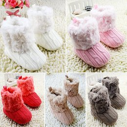 Wholesale Crochet White Baby Booties - Wholesale-Baby Shoes Infants Crochet Knit Fleece Boots Toddler Girl Boy Wool Snow Crib Shoes Winter Booties