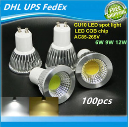 Wholesale Mr16 12w Fedex - DHL UPS FedEx High Power Lampada Led E27 E14 MR16 GU10 COB 6w 9w 12w Dimmable Led Cob Spotlight Warm Cool White ac85-265v Bulb Lamp