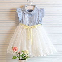 Wholesale Denim Lace Vest - fly sleeve girl summer denim dress for kids jeans tutu dresse cute lace dress with bow dress baby girl vest lace dress children tutu dresses
