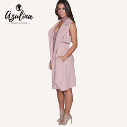 Wholesale Trench Coat For Women Pink - Wholesale- AZULINA Brand Casual Trench For Women Slim Ladies Sleeveless Pink Long Female Trench Coat Femme Spring Summer With Belt Sashes