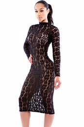 Wholesale Evening Midi Dresses - New Women Dres Sexy Black Long Sleeve Embroidery Sheer Lace Party Dress Simone Ladies Bodycon Sexy Long Evening Club Dress S6862