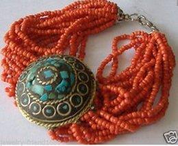 Wholesale Silver Turquoise Coral Tibetan Bracelet - free shipping >>>Jewelry tibetan turquoise bracelet