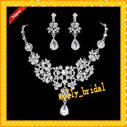 Wholesale Designer Silver Jewelry 925 - 2017 Hot Wedding Tiara Necklace Set Bridal Jewelry Sets Rhinestone Designer Bridal Hair Flower Crystal Wrap Wedding Dresses Prom Pageant