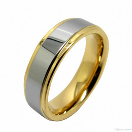 Wholesale Christmas Gift Plated Gold Ring - Tungsten Mens Ring 14K Gold Wedding Band 6mm Men Womens Statement Infinity Bridal Jewelry Unique Wedding Gifts Christmas