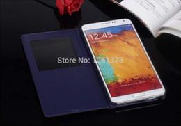 samsung ic chip Rebajas Al por mayor-Para Samsung Galaxy Note 3 Note3 neo mini N7505 7505 Smart View Big Window Flip Funda de piel con chip IC Función de reposo
