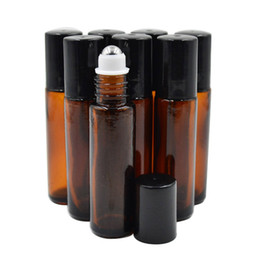 Wholesale Empty Glass Roll Bottles - Wholesale- 10ml (1 3oz Thick AMBER Glass Roll On Bottle Essential Oil Empty Aromatherapy Perfume Bottle + metal Roller Ball BY DHL Free Ship