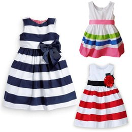 Wholesale Striped Baby Bow Dress - Summer Hot girl striped dress princess skirt Hot baby chiffon flowers skirt Chic Party Dress cute girls dress Children's Dresses 2015 C001