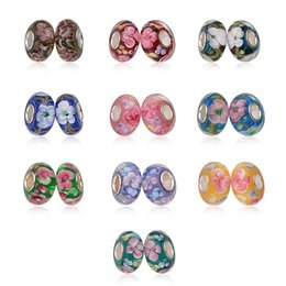 Wholesale 925 Silver Core - 925 Silver plated without Threaded Screw Core Fascinating Faceted Murano big hole Glass Beads Fit Charm Bracelets & Necklaces charms