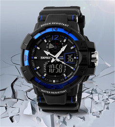 Wholesale Waterproof Watches Men Led - SKMEI SK1040 men's GMT dual display watch, analog digital relogio waterproof swim wristwatch, led military watch, gift watch for men