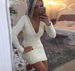 Wholesale Vintage Cocktail Dresses Sale - 2017 Hot Sale Sexy v Neck Lace Pearl Beaded Custom made Lace Short Cheap Long Sleeves Cocktail Dresses Free Shipping