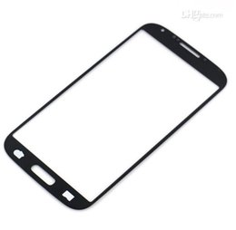 Wholesale Galaxy S4 Lcd Black - For Samsung Galaxy S4 I9500 Outer Front Glass Lens Screen Digitizer Touch Screen Cover Pebblue Blue Pink Red White Black Sky Blue