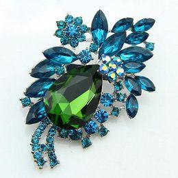 Wholesale Small Rhinestone Brooches Wholesale - Wholesale-MN-Designer Big navy Blue Acrylic Small Resin Rhinestone Brooch Women Fashion Jewelry Ae021