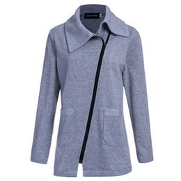 Wholesale Wholesale Down Coats - Wholesale- 2016 Winter Jacket Coat Women Inclined Zipper Long Jacket Ladies Lapels Solid Color Long Sleeve Slim Fit Outerwear Parkas