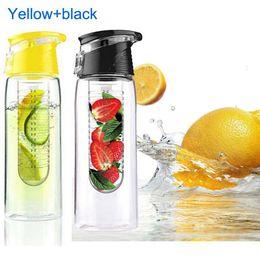Fahrradhäuser online-2 Stücke 800 ml Radfahren Obst Infusion Wasser Lemon Cup Saft Bike Home Gesundheit Flasche Flip Deckel mit Box