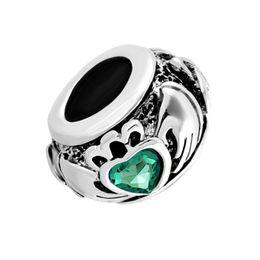 Wholesale Pandora Friendship Charm - Metal Slider Spacer green birthstone Irish Claddagh Friendship and Love Heart European Bead Fit Pandora Chamilia Biagi Charm Bracelet