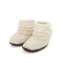 Wholesale Top Fashion Crochet Handmade - Wholesale-Hot marketing 2015 Fashion 1Pair Cute Baby Girls Woolen Warm Crochet Handmade Knit High-top Tall Boots Shoes Aug13