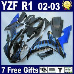 Kit corpo yamaha yzf online-Carene blu fiamme per YAMAHA R1 2002 2003 Kit corpo stampato ad iniezione YZF1000 02 03 yzf r1 kit carene parti set 4RW1