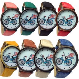 """Wholesale Casual Dress Shops - Christmas Gift Shopping! """"I WANT TO RIDE MY BICYCLE"""" High Quality Brand Leather Strap Women Men Kids Bronze Dress Quartz Watches"""