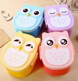 Wholesale Kawaii Bento - Kawaii Candy Color Owl Lunch Box Microwave Oven Food Bento Container Case Dinnerware Children's Birthday Gift for Kids