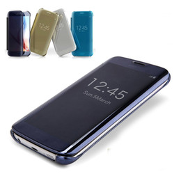 Wholesale Note View Cover - Smart flip slim clear view mirror case cover For Samsung Galaxy S6 S7 Edge S5 S6 Note 5 4 A5 A7 A8
