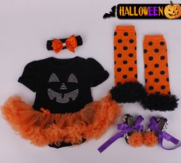 Wholesale Wholesale Headbands Leggings - Baby Girls Halloween Romper & headbands kids Halloween one piece lace tutu Skirt+headbands+leggings+shoes suit baby clothing free shipping