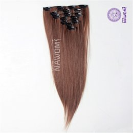 Wholesale Girls Hair Extension Clips - NAWOMI Heat Resistant 7Pcs Package 22Inch 55CM Synthetic Hair Piece Straight Brown Girls Clips In Fiber Extension For Full Head