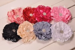 Wholesale Hair Clip Brooches - Big Lace Peony Flowers With Shiny Gem Center Brooch Hair clips Trial order 30PCS LOT QueenBaby