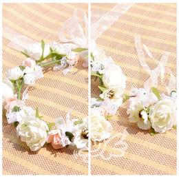 Wholesale Wrist Corsage Accessories - Bohemian Flowers Hair And Wrist Corsage Accessories Bridesmaid Bride's Headbands Wrist Bands Sets Beach Wedding Suppliers For Ladies