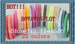 """Wholesale Wholesale Satin Labels - FREE SHIPPING,50 yards 3 8""""(10mm), Lovely 22 colors printed color label with Dot DIY Ribbons Satin Ribbons Decoration Craft"""