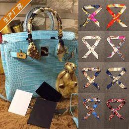 Kleinteile taschen online-Neue Silk Twill Schals für Taschengriff Printed Schals Kleine Band für Handtasche Griff Tasche Teil Zubehör