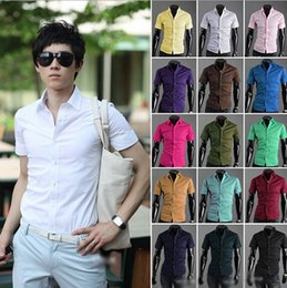 white mens shirts 17 Coupons - HOT Summer Mens Designer Shirts Short Sleeve Casual Candy Color Dress Shirt 17 Colors US SIZE M--3XL