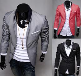 2019 costume rouge gris S5Q Hommes Casual Vêtements Slim Fit Costume Élégant Blazer Manteaux Vestes AAACFQ Gris Rouge Noir 3 Couleurs costume rouge gris pas cher