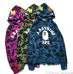 Wholesale Women Long Hoodies Dresses - Europe and the United States on the streets of ape Kanye MA1 tide brand ape shark head Camo hoodies. Men and women couples dress