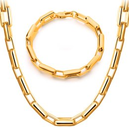 Wholesale Mens Real Gold Bracelets - Mens Thick Tight Link Necklace Bracelet Set With 18K Stamp Men Jewelry Platinum Rose Gold 18K Real Gold Plated Chain Necklace Set