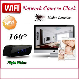 Wholesale Spy Clock Hd - Mini P2P Network Spy Wifi Camera Clock HD 720P with Night Vision Motion Detection Wide-angle view 160 degree Mini DV DVR Mobile Alarm