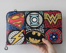 Wholesale Superhero Bags - 2015 Unisex Marvel Clutch Fashion Retro PU Leather Supercool Superhero Avengers Rivet Gothic Punk Handy Wrist Clutch Bag